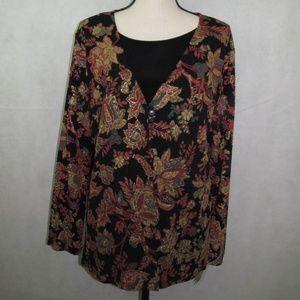 JM Collection Top Plus Size 1X Long Sleeve Floral